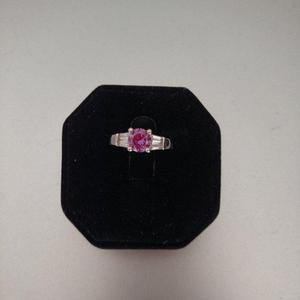 Simulated Amethyst and Baguette CZ Ring set in Sterling Silv