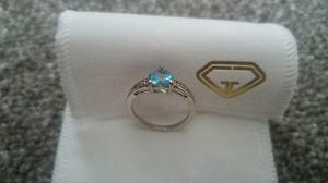 Swiss Blue Topaz and Diamond Platinum overlay Sterling Silve