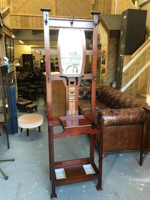 Fabulous antique Art Deco hall coat/Umberlela stand with mirror