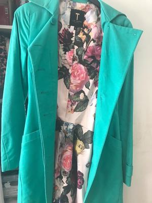 Ted Baker turquoise trench coat size 6-8