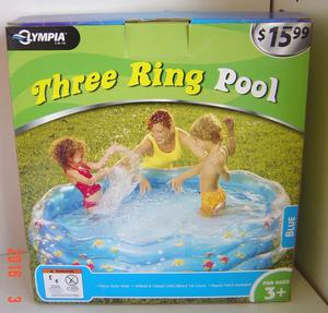 "NEW Three Ring Inflatable 64"" x 15"" Baby Kiddie Pool WET SET"