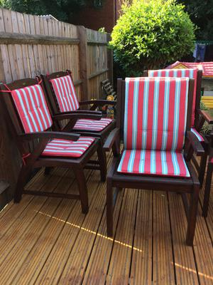 5 Solid wooden garden chairs with cushions. Very Good Condition.