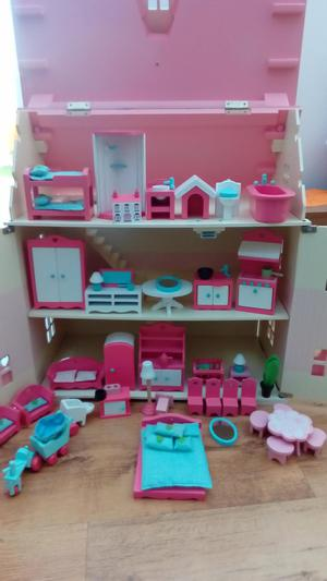 Elc rosebud dolls house with 13 figures and 50 accessories