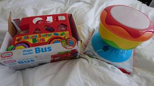 Shape sorter bus and lights and sound drum baby toys