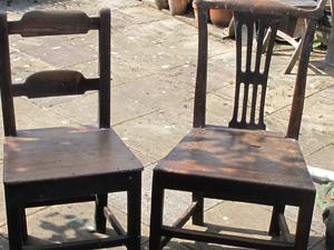 2 x ANTIQUE KITCHEN SOLID WOODEN CHAIRS
