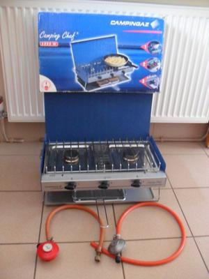 Campingaz Double Burner and Grill / Folding Stove Boxed *PLUS gas connectors & saucepan, cups