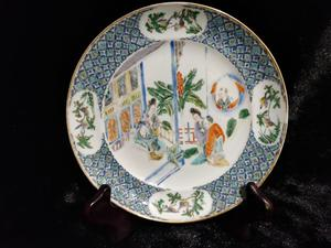 """""""Canton"""" Famille verte porcelain dish with character"""