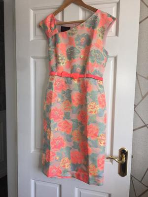 Daisy May Neon Coral & Grey Floral Dress Size 10 New Wedding