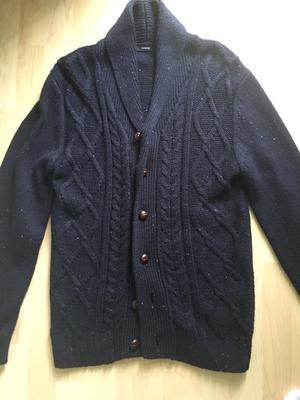 George small men's navy/white speck cardigan