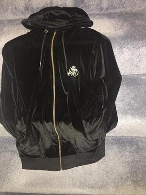 Mens silk black and gold trim hoodie.