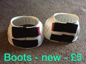 Shires New White Over Reach Boots XL Size