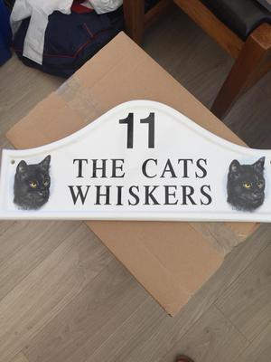 THE CATS WHISKERS Ceramic House -Door number plaque-siqn