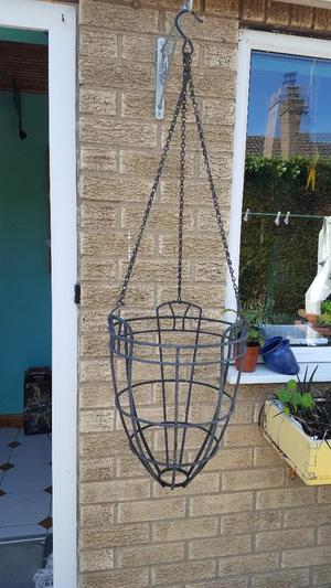 VERY LARGE VERY HEAVY WROUGHT IRON HANGING BASKETS X2