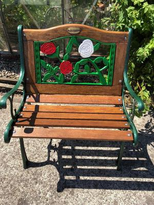 fully refurbished Aymnstry cast iron garden chair