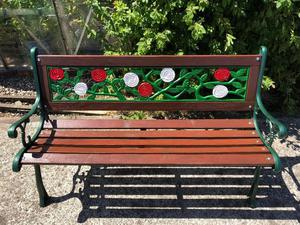 fully refurbished cast iron garden bench