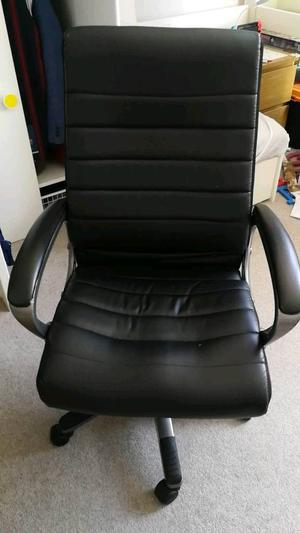 Black Faux Leather Office Chair black