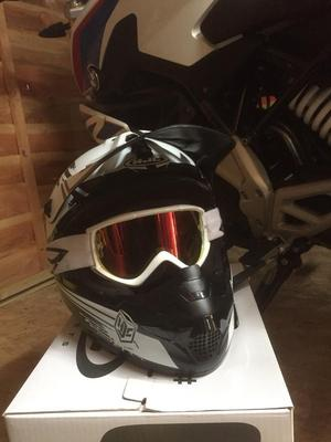 Hjc white and black helmet with goggles