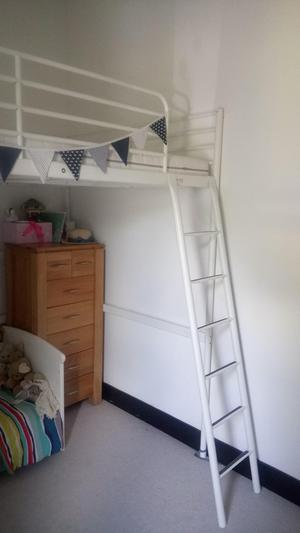 Ikea Tromsö double loft bed with white steel frame
