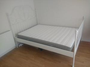 Ikea double metal bed frame + matress less than 1yr old
