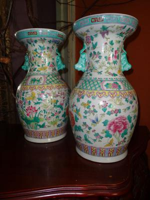 A couple of Famille rose vases - (handmade) - China - 2nd