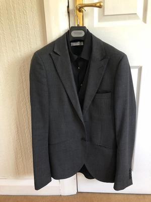 Dark grey Suit Jacket and Waistcoat with black shirt