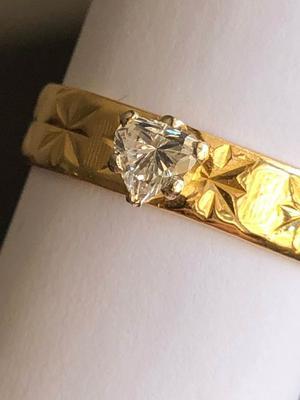 22K Yellow Gold 4.2 gr. Heart Cut 0.52 ct. Diamond Solitaire