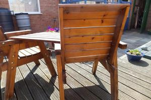 Pair of Solid Hardwood High Back Garden Chairs with Adjoinin