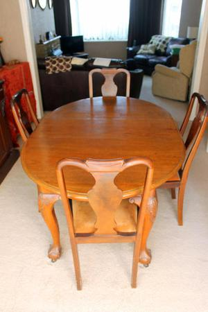 Antique Ball and Claw Foot Dining Table and Queen Anne