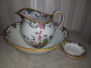 Antique Hanley Pearl Pottery WASH BOWL / JUG / SOAP DISH Set