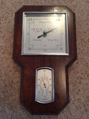 I have for sale an Antique Deco Barometer / thermometer in a wooden case. Length 35cm Width 21cm