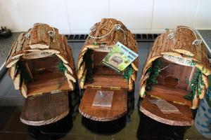 Wooden squirrel feeders