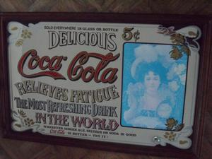 Very Large Vintage Advertising Coca Cola Pub Mirror Approx. 3ft x 2ft. - BH5 Pokesdown