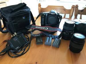 Canon EOS 30D DSLR Camera with 2 lenses, 3 batteries, battery grip, 16GB CF card, charger and case