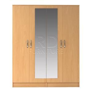 Beatrice 4 door mirrored wardrobe beech effect