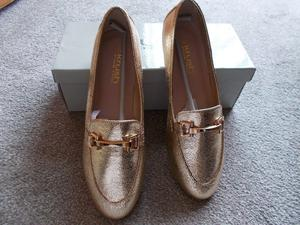 Brand new boxed metallic loafers size 6
