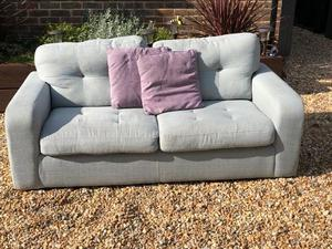 Large 2 Seater Sofa - Green fabric - soft + comfy Free to