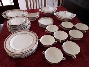 Vintage J&G Meaking Westminster 38 piece Dinner Service Red and gold band