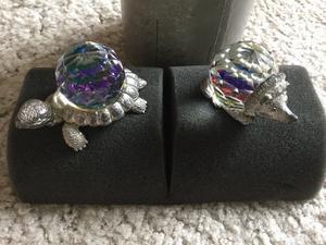 Crystal ball tortoise and hedgehog ornaments
