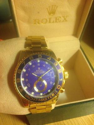 Men's watch, gold and blue, yacht master 2, fashion