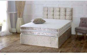 New Crushed Velvet Divan Bed + Sprung Memory Foam Mattress + Matching Headboard!