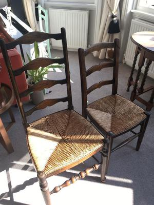 Pair of wicker seat chairs.