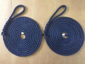 12mm Navy Blue mooring ropes 2 x 10 metres, brand new, yachts warps boat lines