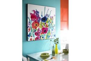 BRAND NEW BOXED ARTHOUSE FLOWER BURST LACQUER CANVAS 80CMX80CM