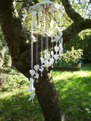 Doves and Hearts Paper Mobile Wind Chime. Handmade from Saar