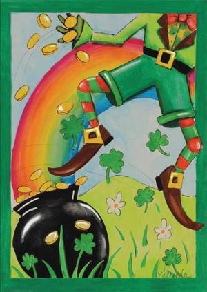 "Leaping Leprechaun St. Patrick's Day House Flag 28"" X 40"""