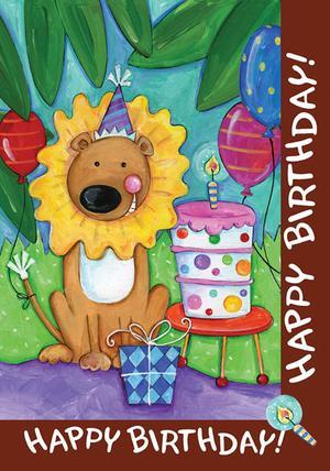 Lion Happy Birthday Cake House Flag Celebration Toland