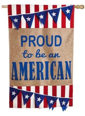 """Proud To Be An American Decorative Flag Burlap 28"""" X 44"""""""