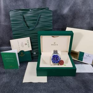 Rolex Submariner Silver Blue Face - Complete Set Box And Papers 1 Year Free Warranty