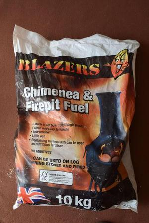 2 x 10kg BAGS OF BLAZERS CHIMNEA / FIREPIT FUEL + 1 x 10kg