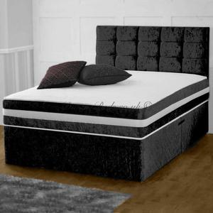NEW DOUBLE CRUSHED VELVET DIVAN BED + MEMORY ORTHO MATTRESS + HEADBOARD 3FT 4FT 4FT6 Double 5FT